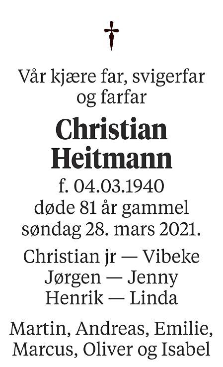 Christian Heitmann Dødsannonse