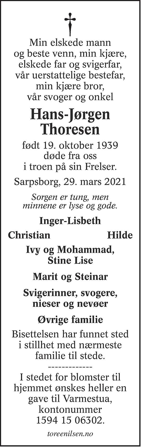 Hans-Jørgen Thoresen Dødsannonse