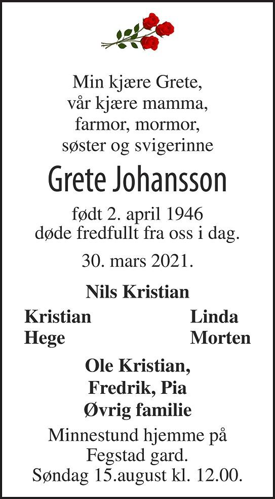 Grete Johansson Dødsannonse