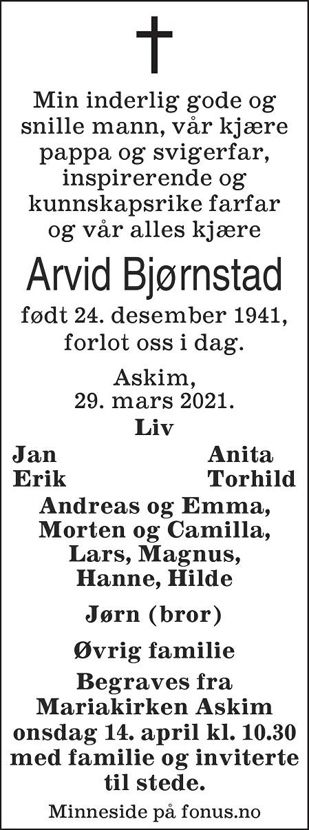 Arvid Andreas Bjørnstad Dødsannonse