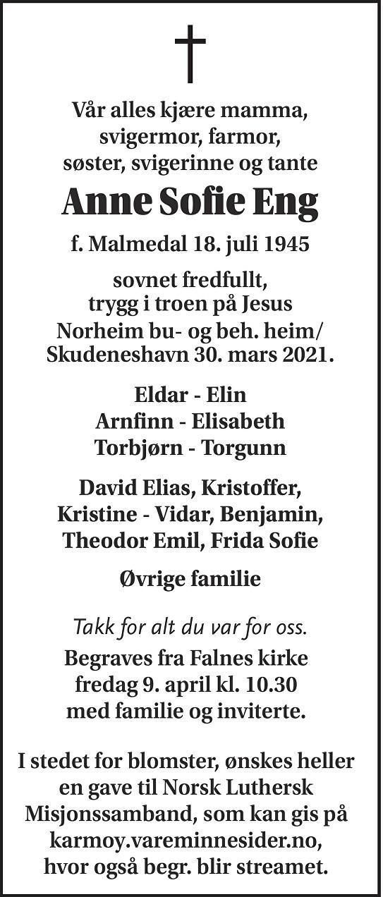Anne Sofie Eng Dødsannonse