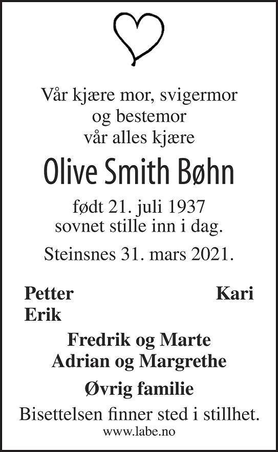 Olive Smith Bøhn Dødsannonse