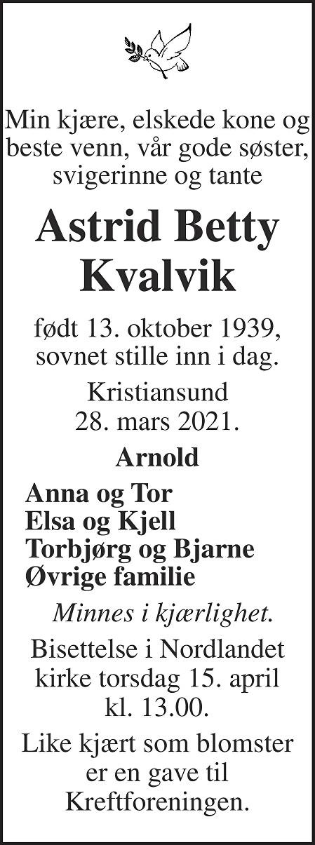 Astrid Betty Kvalvik Dødsannonse