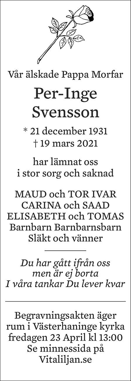 Per-Inge  Svensson Death notice
