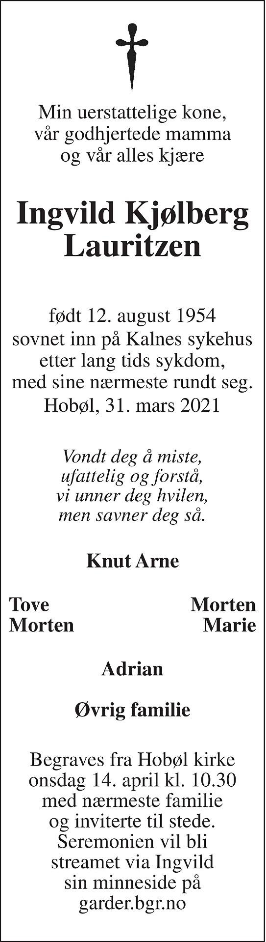 Ingvild Kjølberg Lauritzen Dødsannonse
