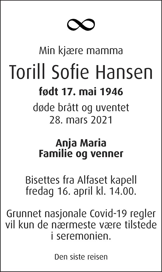 Torill Sofie Hansen Dødsannonse