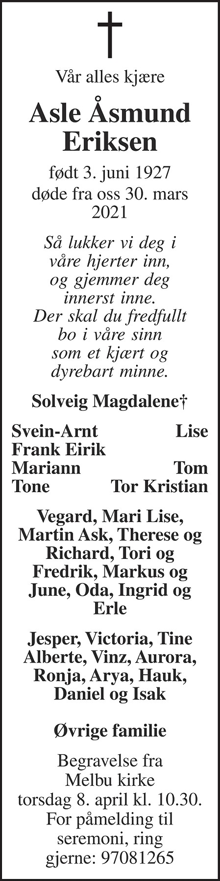 Asle Åsmund Eriksen Dødsannonse
