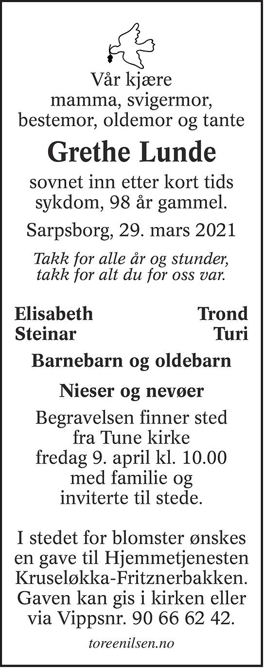 Margrethe Lunde Dødsannonse