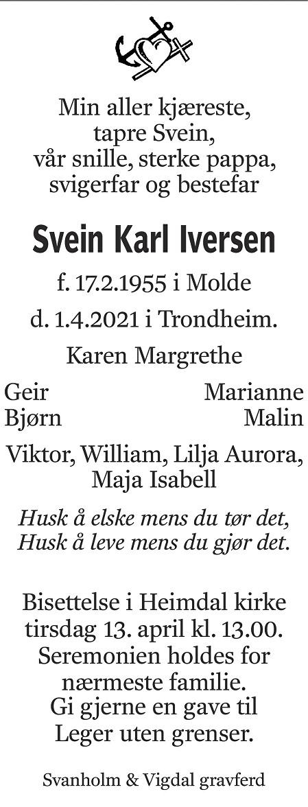 Svein Karl Iversen Dødsannonse