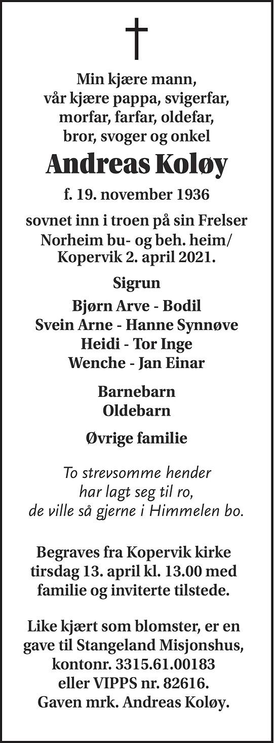 Andreas Koløy Dødsannonse