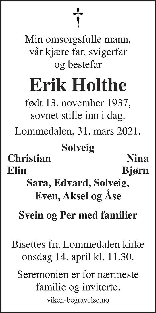 Erik Holthe Dødsannonse