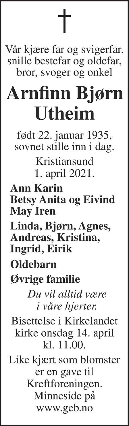 Arnfinn Bjørn Utheim Dødsannonse