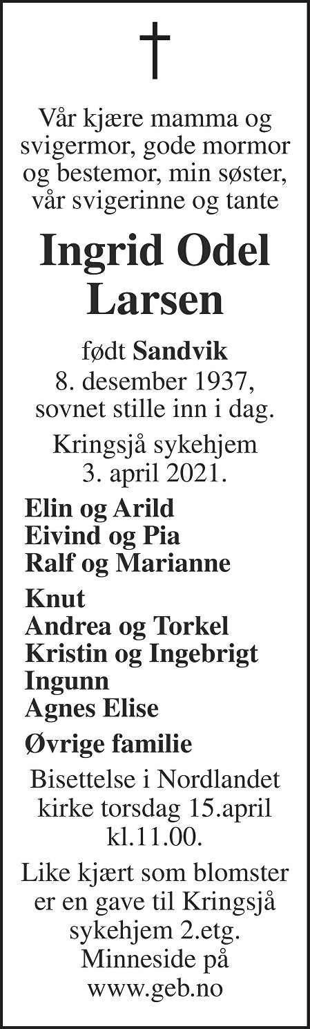 Ingrid Odel Larsen Dødsannonse