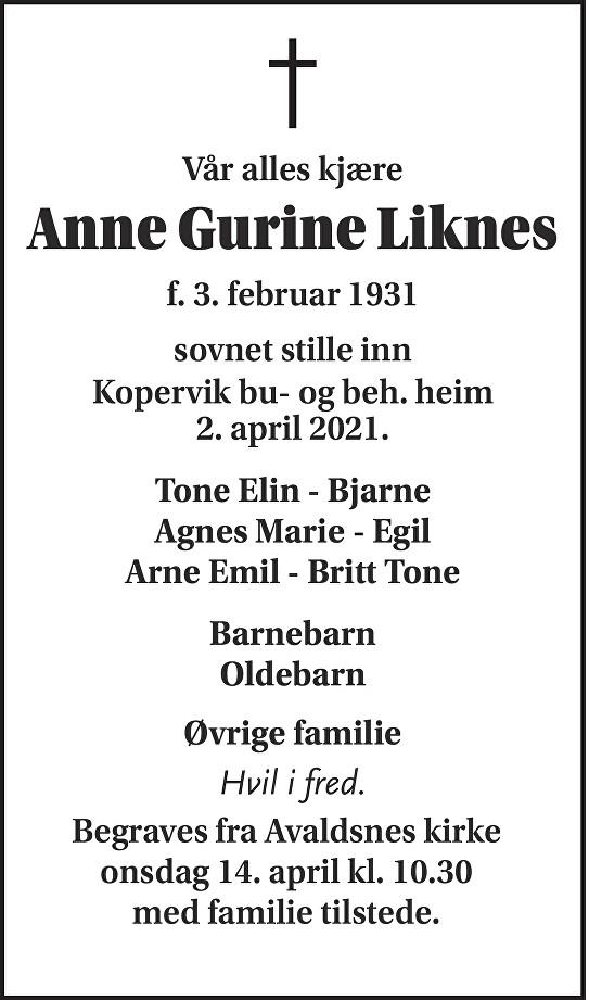 Anne Gurine Liknes Dødsannonse