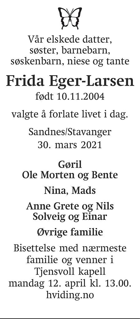 Frida Eger-Larsen Dødsannonse