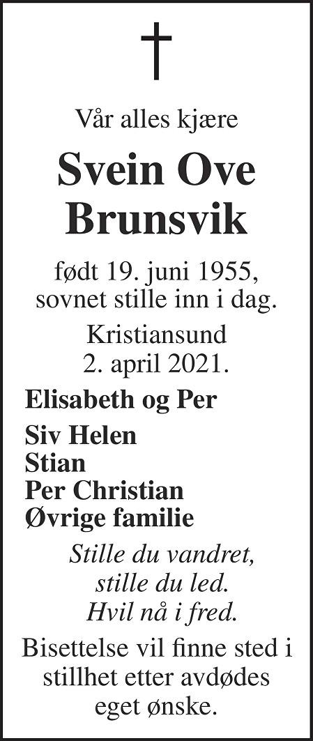 Svein Ove Brunsvik Dødsannonse