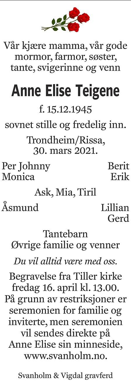 Anne Elise Teigene Dødsannonse