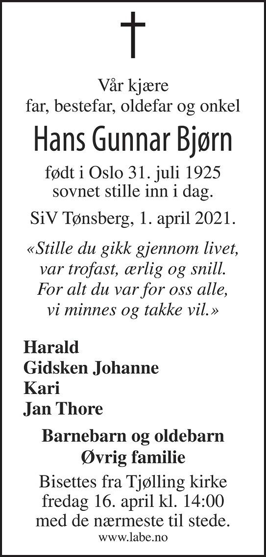 Hans Gunnar Bjørn Dødsannonse