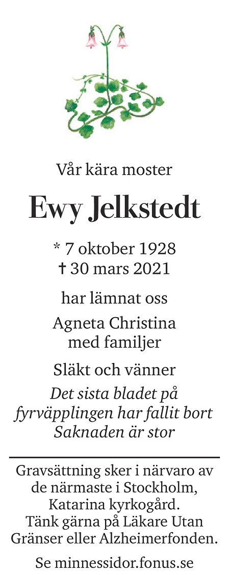 Ewy Jelkstedt Death notice
