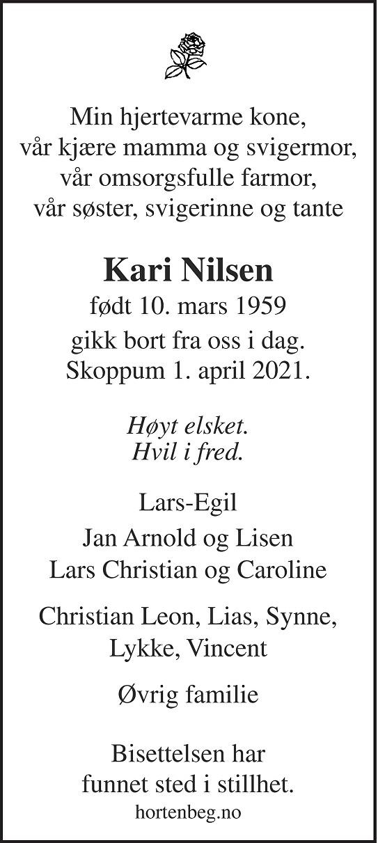 Kari Nilsen Dødsannonse