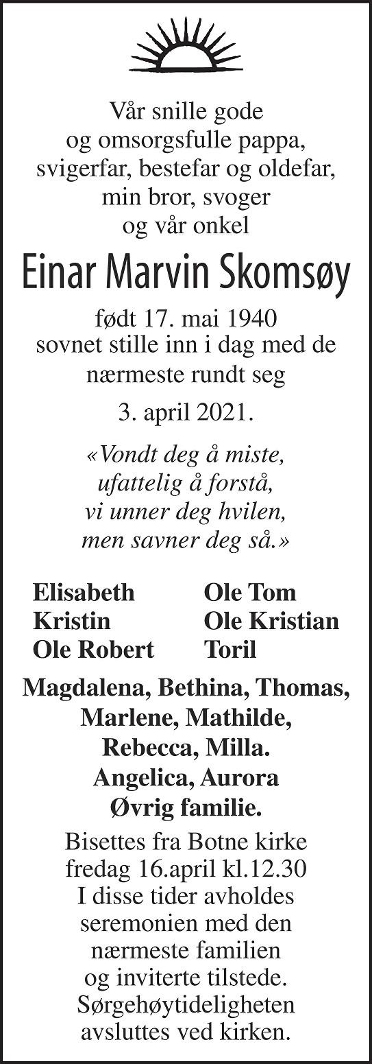 Einar Marvin Skomsøy Dødsannonse