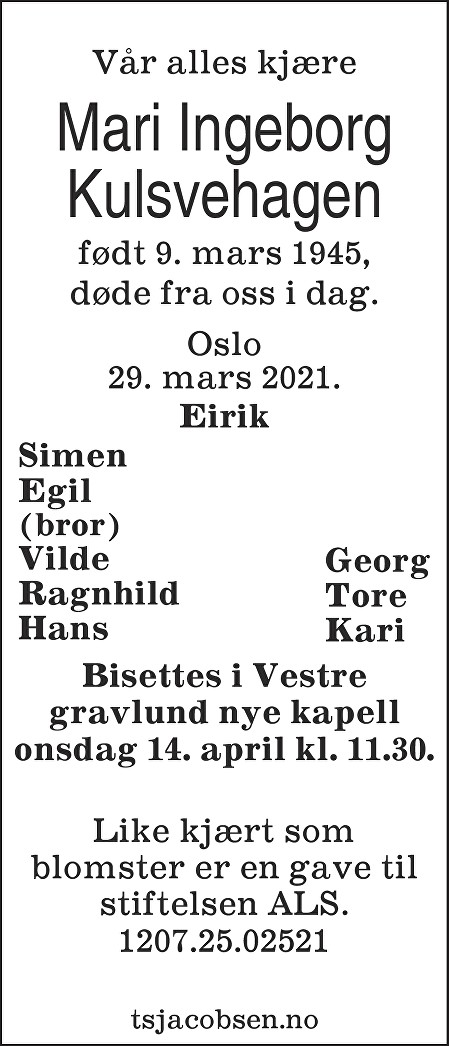 Mari Ingeborg Kulsvehagen Dødsannonse