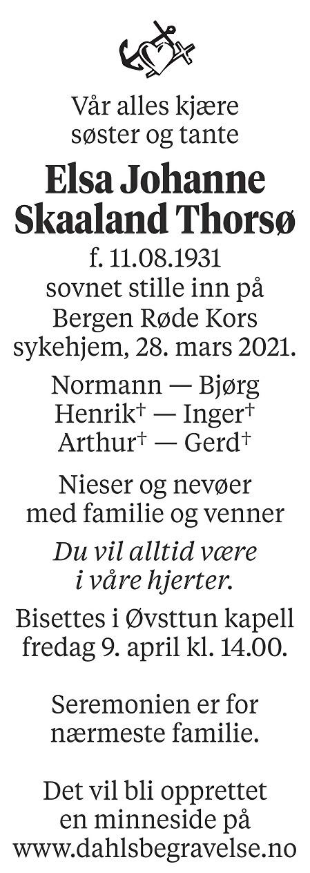 Elsa Johanne Skaaland Thorsø Dødsannonse
