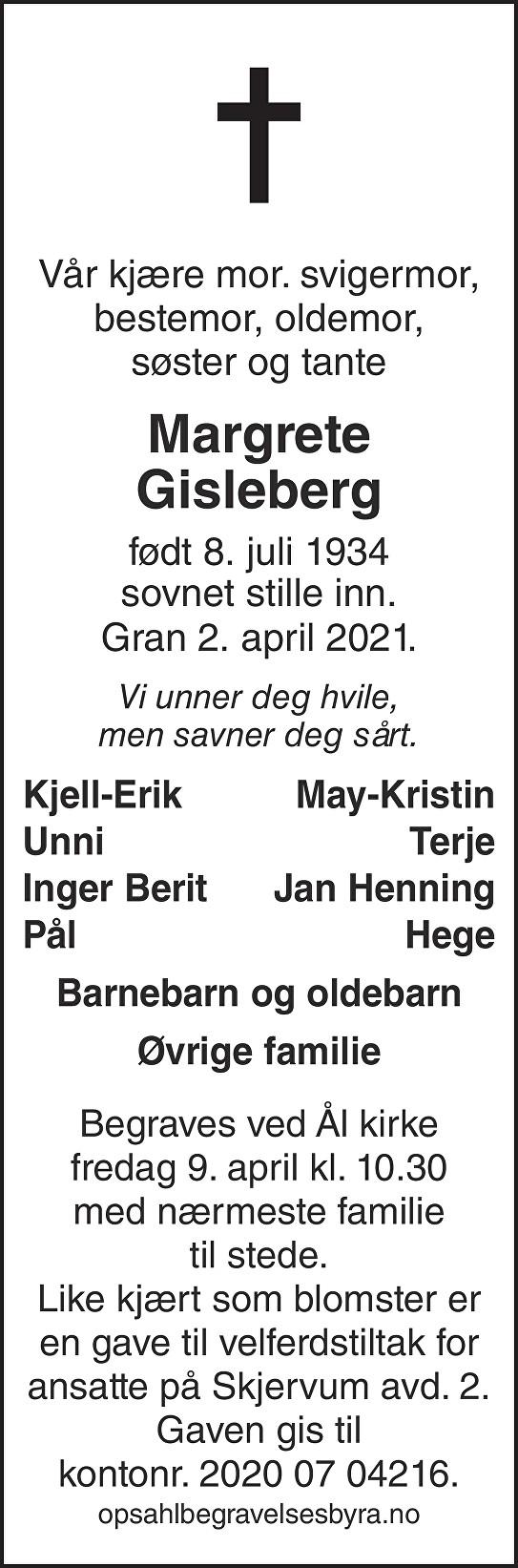 Margrete Gisleberg Dødsannonse