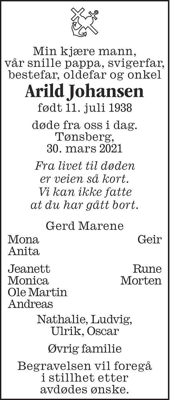 Arild Johansen Dødsannonse