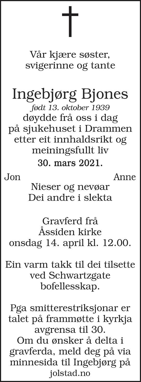 Ingebjørg Bjones Dødsannonse
