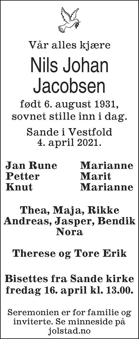 Nils Johan Jacobsen Dødsannonse
