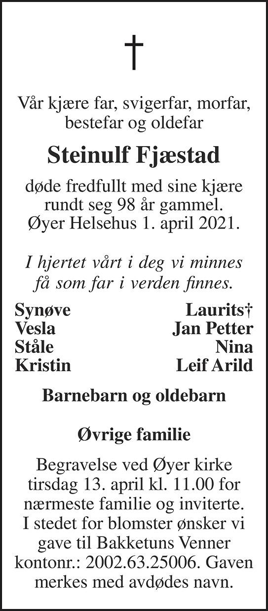 Steinulf Fjæstad Dødsannonse