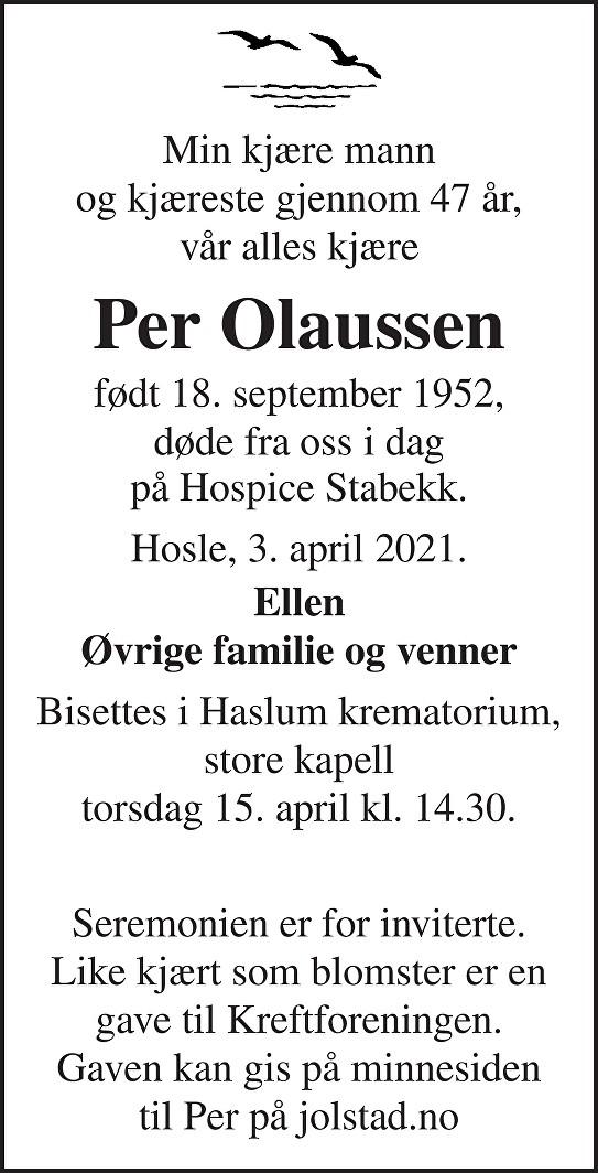 Per Olaussen Dødsannonse