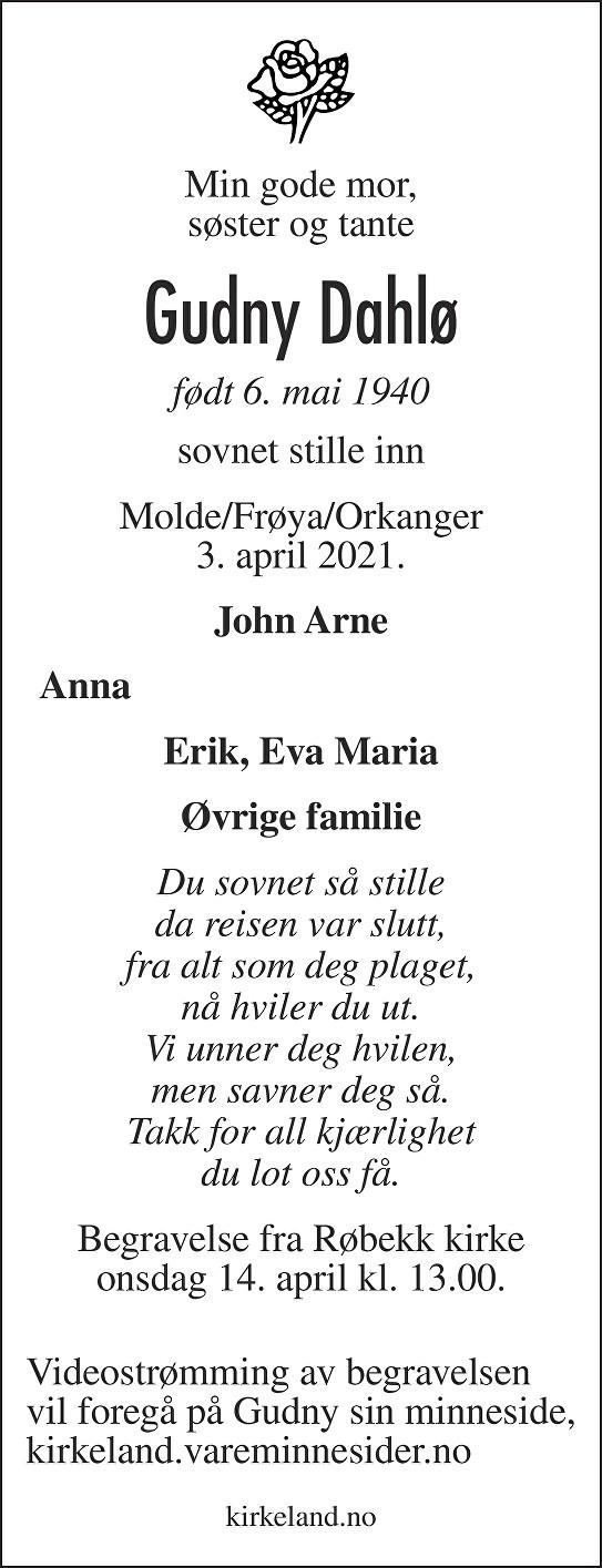 Gudny Dahlø Dødsannonse