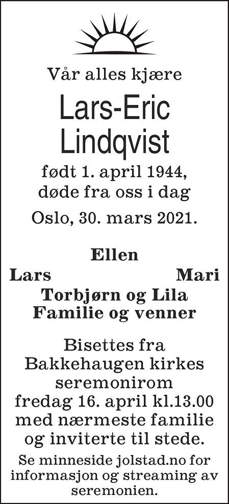 Lars-Eric Lindqvist Dødsannonse