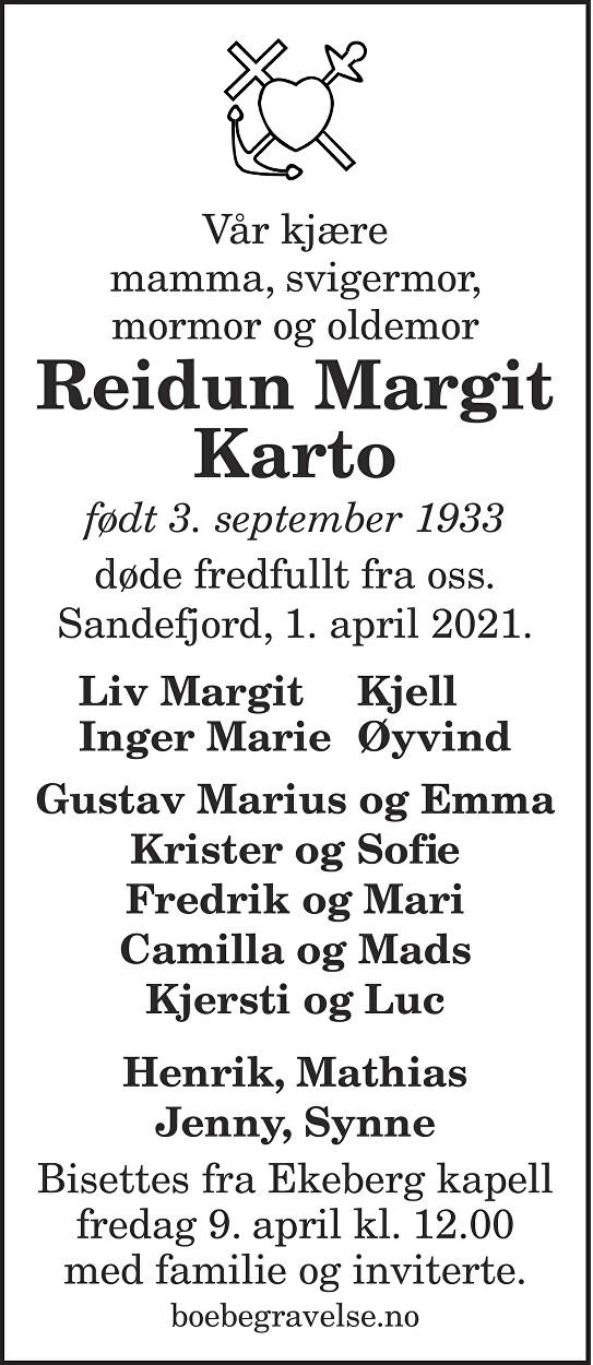 Reidun Margit Karto Dødsannonse