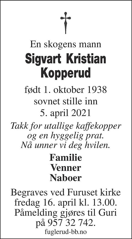Sigvart Kristian Kopperud Dødsannonse