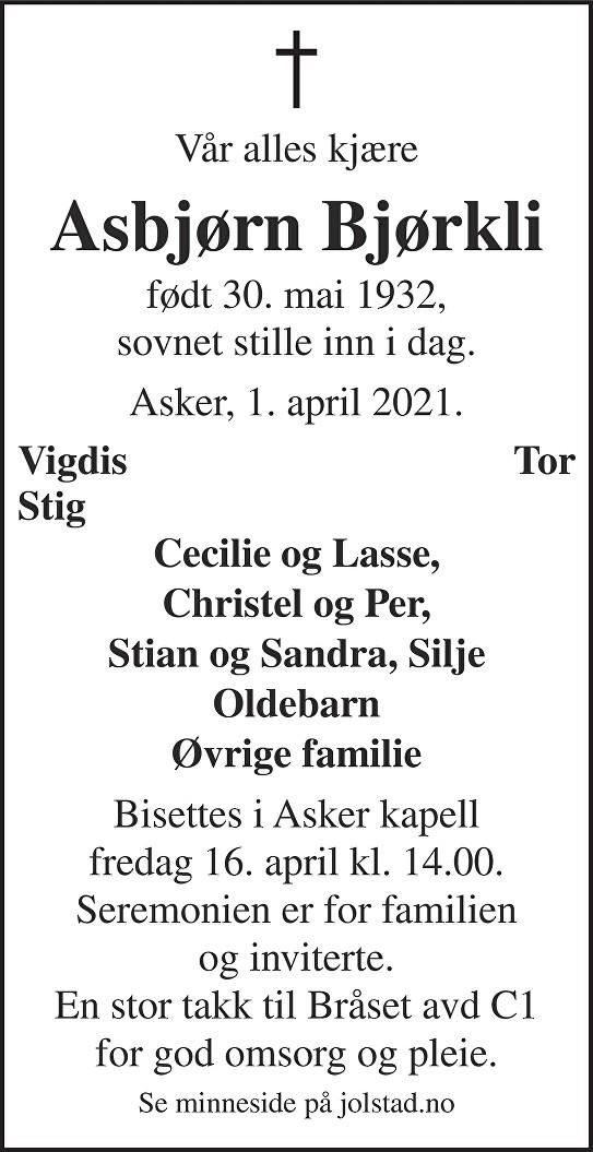 Asbjørn Bjørkli Dødsannonse
