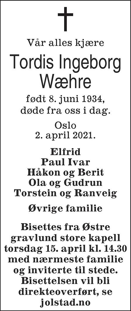 Tordis Ingeborg Wæhre Dødsannonse