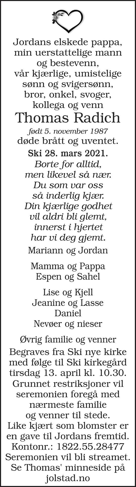 Thomas Radich Dødsannonse