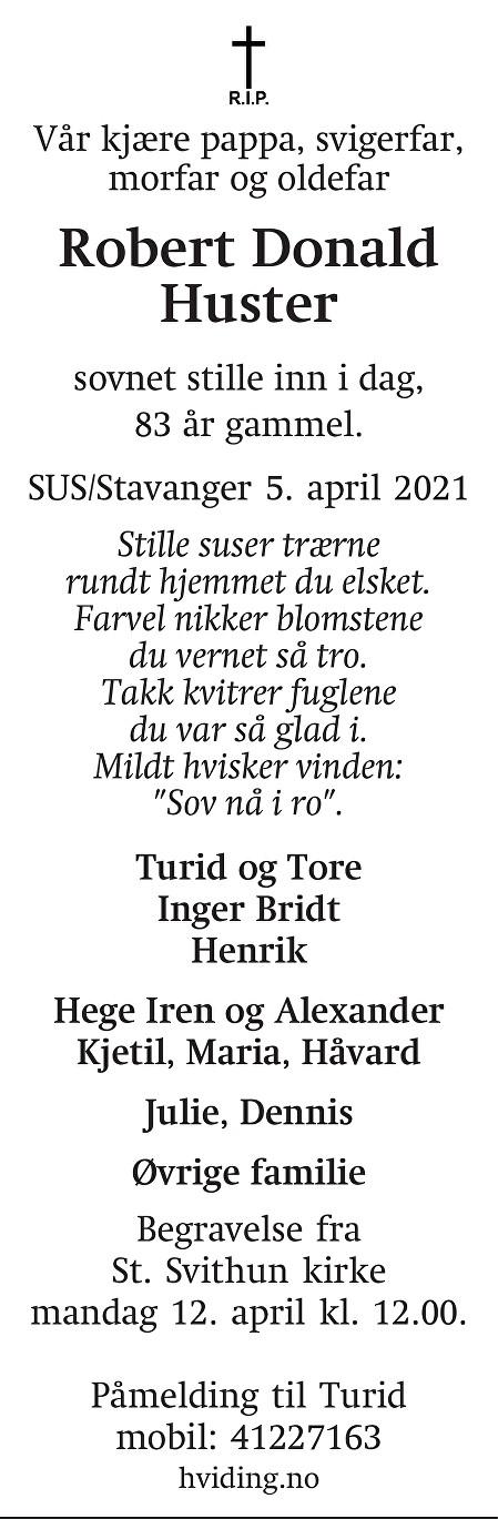 Robert Donald Huster Dødsannonse