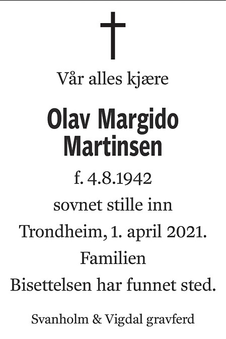 Olav Margido Martinsen Dødsannonse