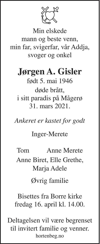 Jørgen Anton Gisler Dødsannonse