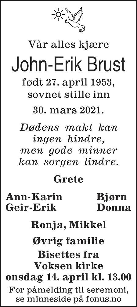 John-Erik Brust Dødsannonse
