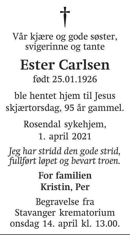 Ester Carlsen Dødsannonse