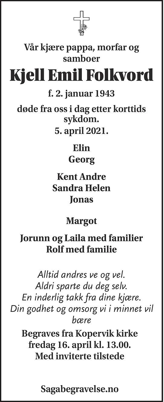 Kjell Emil  Folkvord Dødsannonse