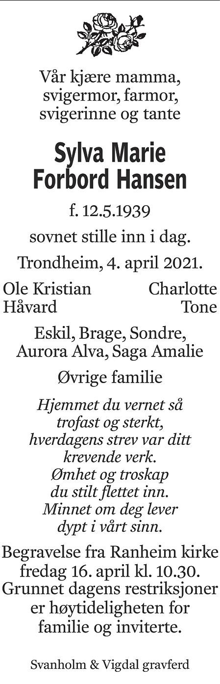 Sylva Marie Forbord Hansen Dødsannonse
