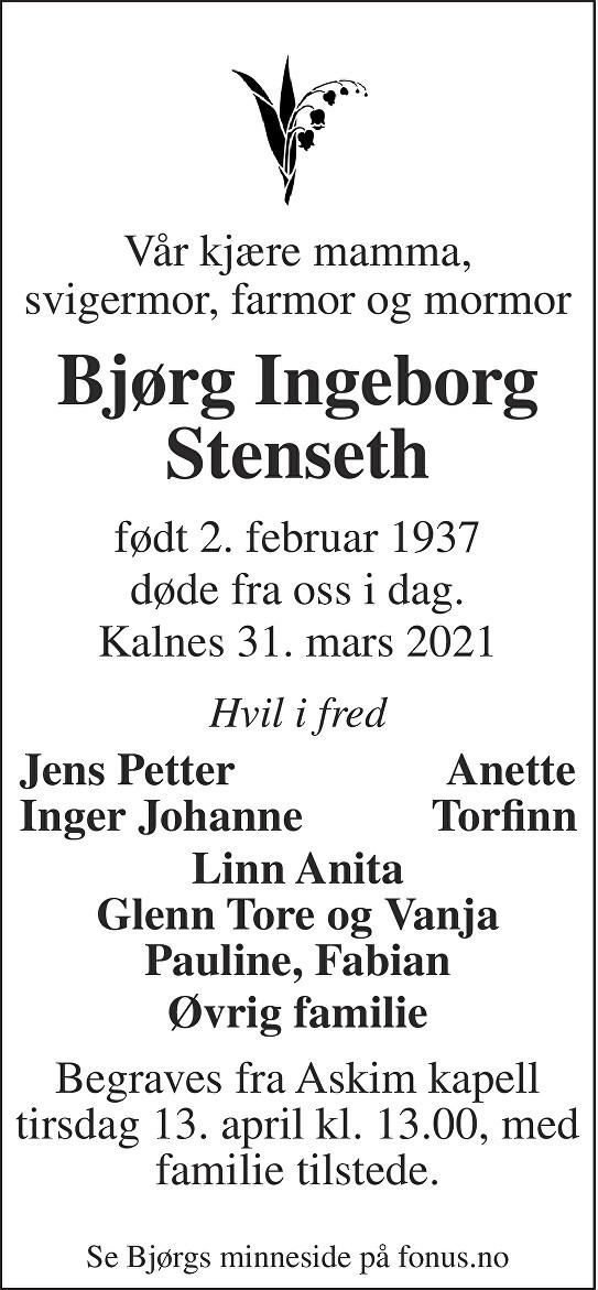 Bjørg Ingeborg Stenseth Dødsannonse
