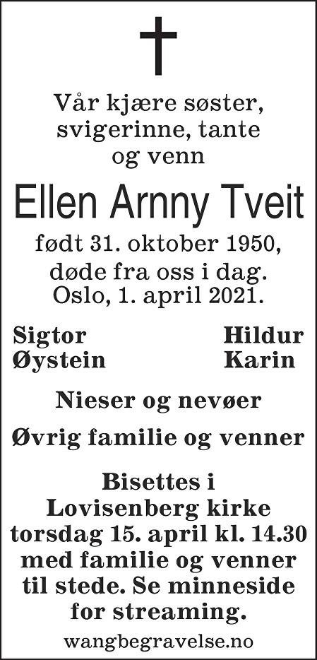 Ellen Arnny Tveit Dødsannonse