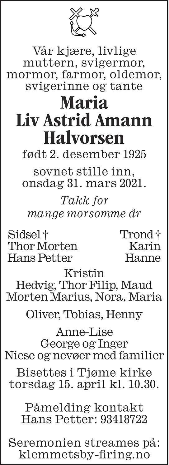 Maria Liv Astrid Amann Halvorsen Dødsannonse